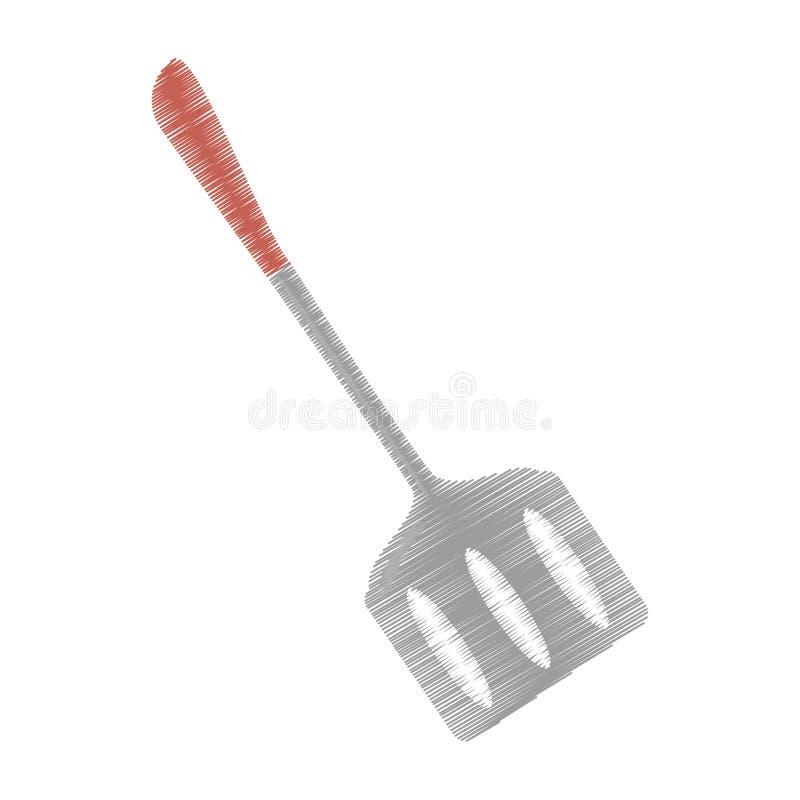 batteries de cuisine et de cuisine de spatule de dessin illustration libre de droits