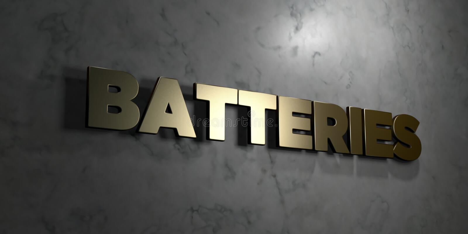 Batteries - Gold sign mounted on glossy marble wall - 3D rendered royalty free stock illustration stock illustration