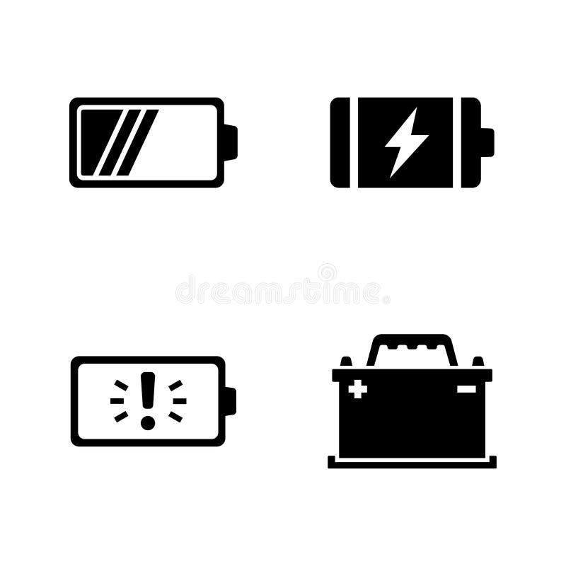 batteries Icônes relatives simples de vecteur illustration libre de droits