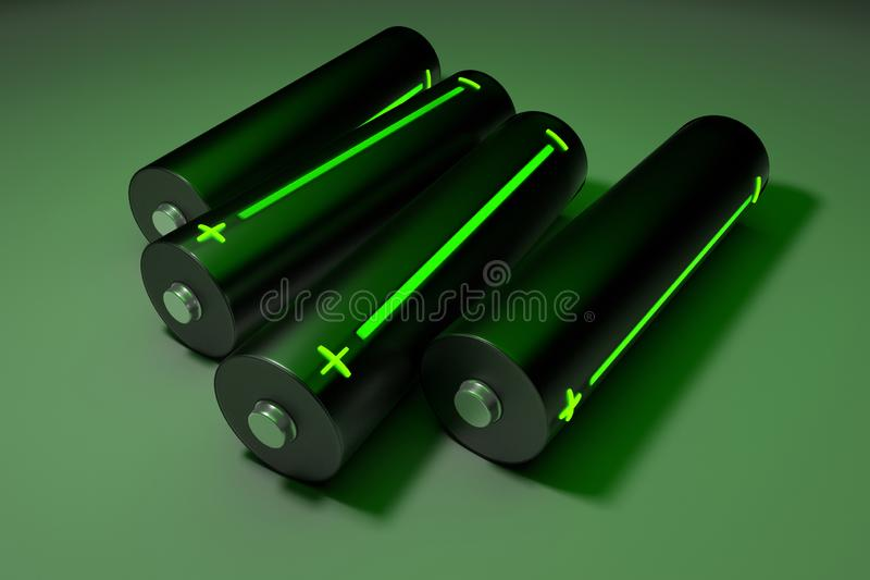 Batteries with indicator stock image