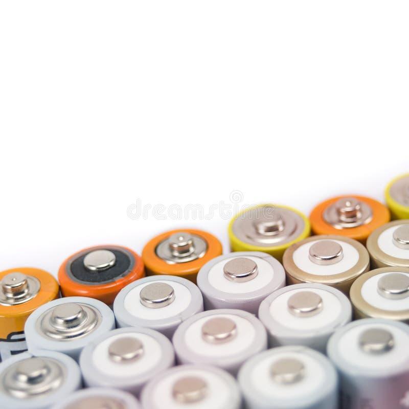 Batteries multi-colored metal stock image