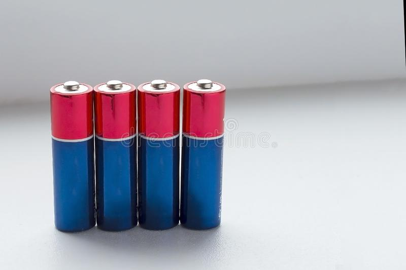 Batteries on a white background. Copy space stock photos