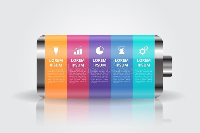 BatteriInfographics mall för affären, utbildning, rengöringsdukdesign, baner, broschyrer, reklamblad stock illustrationer