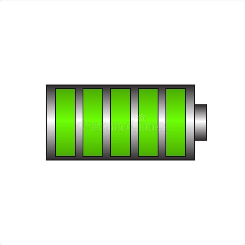 Batterij het laden pictogram Groene batterij, volledig lastensymbool Volledige lastenenergie voor mobiele telefoon Vector eps10 stock illustratie
