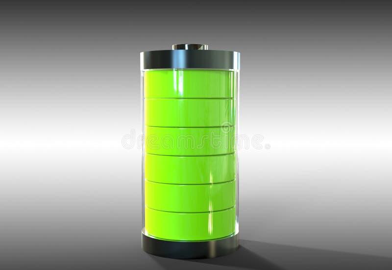 Batterij met groene kern op grijze achtergrond vector illustratie
