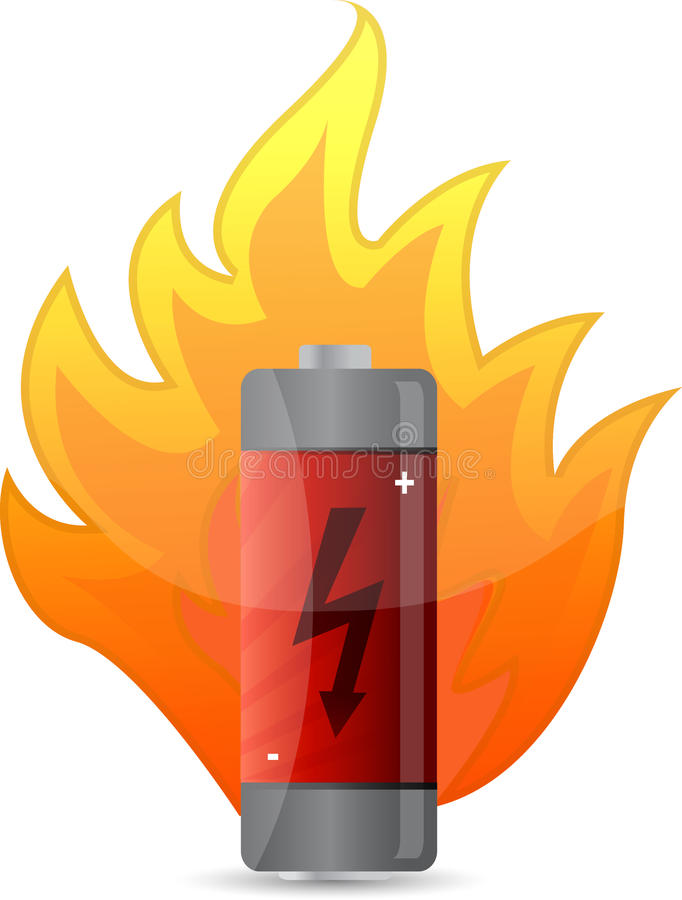 Batterij op het ontwerp van de brandillustratie royalty-vrije illustratie