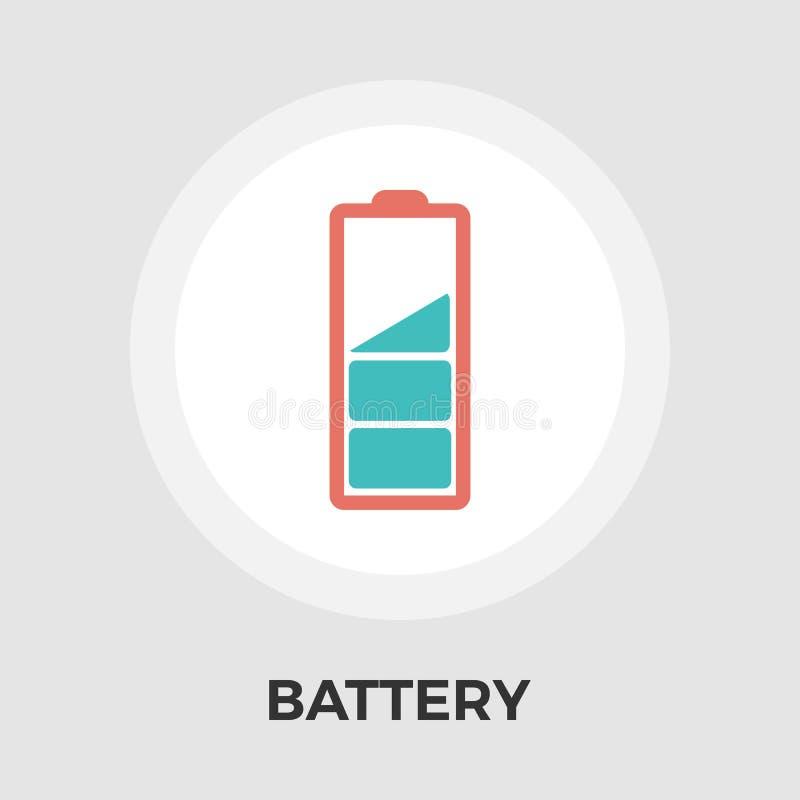 Batterij vlak pictogram stock illustratie