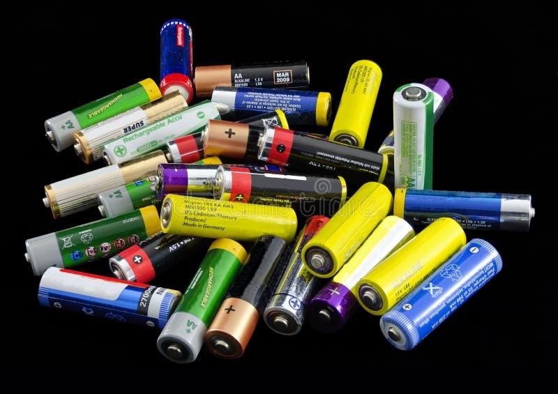 Batterijen en navulbare cellen stock afbeeldingen