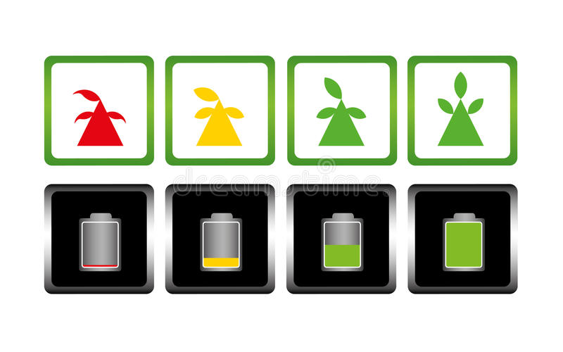 Batterijlast en boom pictogram Symbool stock afbeeldingen