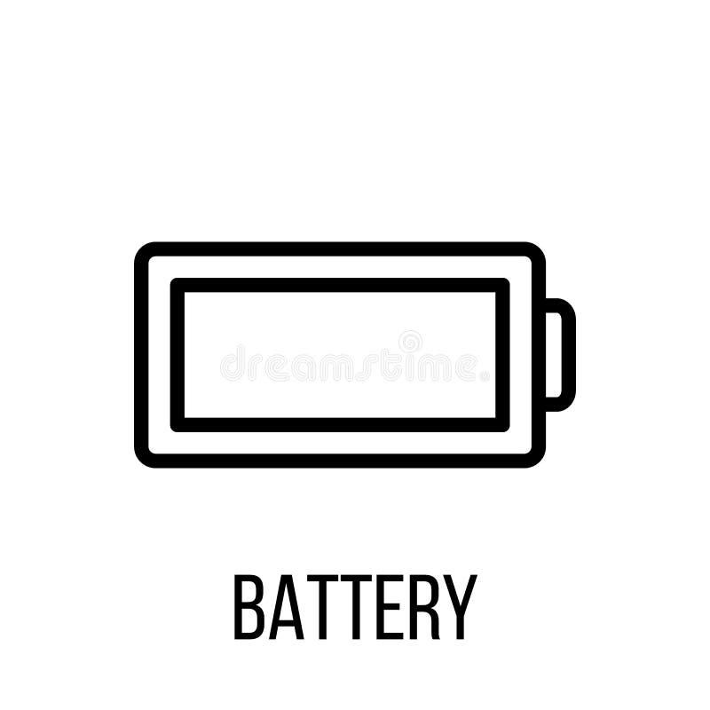 Batterijpictogram of embleem in moderne lijnstijl Hoog - kwaliteits zwarte ou stock illustratie