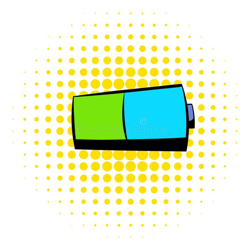 Batterijpictogram, strippaginastijl royalty-vrije illustratie