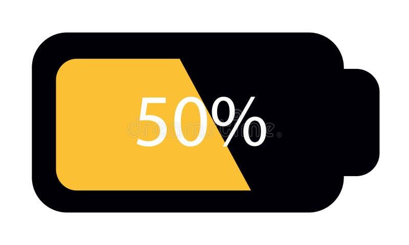 Batterijstatus Halve 50% - het VectordiePictogram van Editable - op Wit wordt geïsoleerd stock illustratie