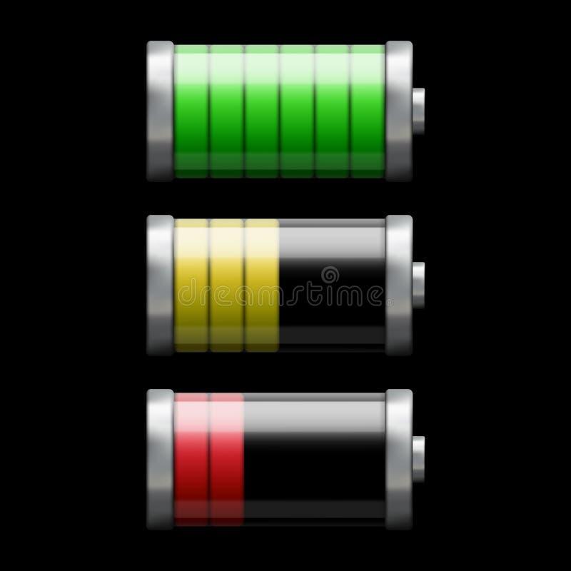 Batteriladdning vektor illustrationer