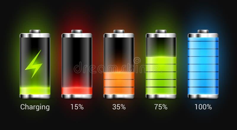 Batteriladdningsdesign Full laddningsenergi för mobiltelefon Symbol för ackumulatorindikatorvektor av maktnivån stock illustrationer