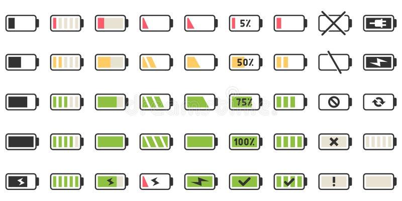 Batteriladdningssymboler Driven indikator, laddande tomma batterier och låg uppsättning för illustration för batteridriftsymbolsv royaltyfri illustrationer