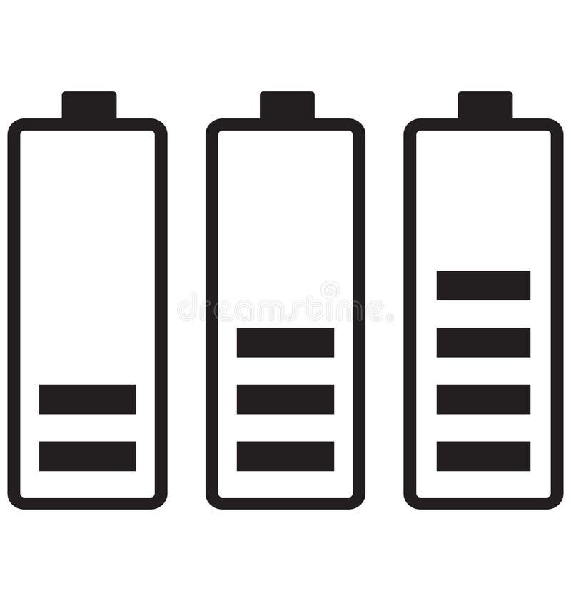 Batterinivåer, batteriet som laddar den isolerade vektorsymbolen, kan lätt ändras eller redigera stock illustrationer
