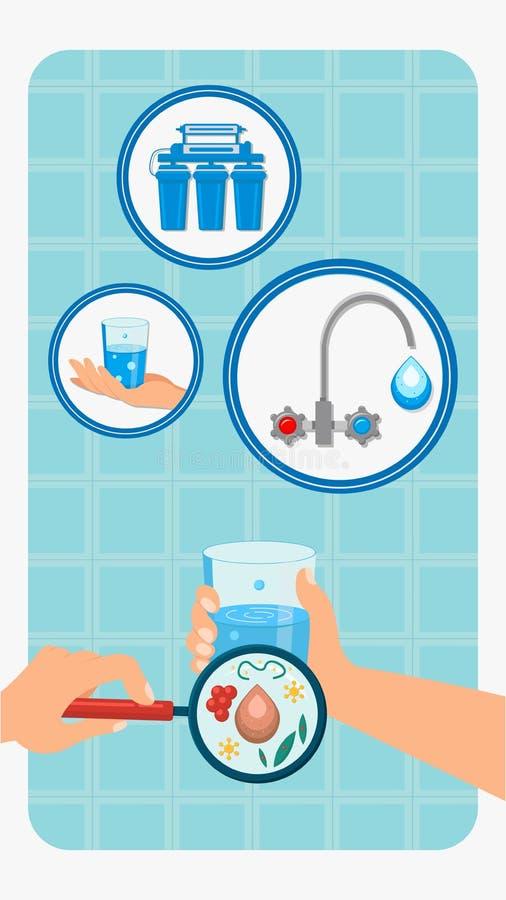 Batterio nell'illustrazione sporca di vettore di colore di acqua illustrazione di stock
