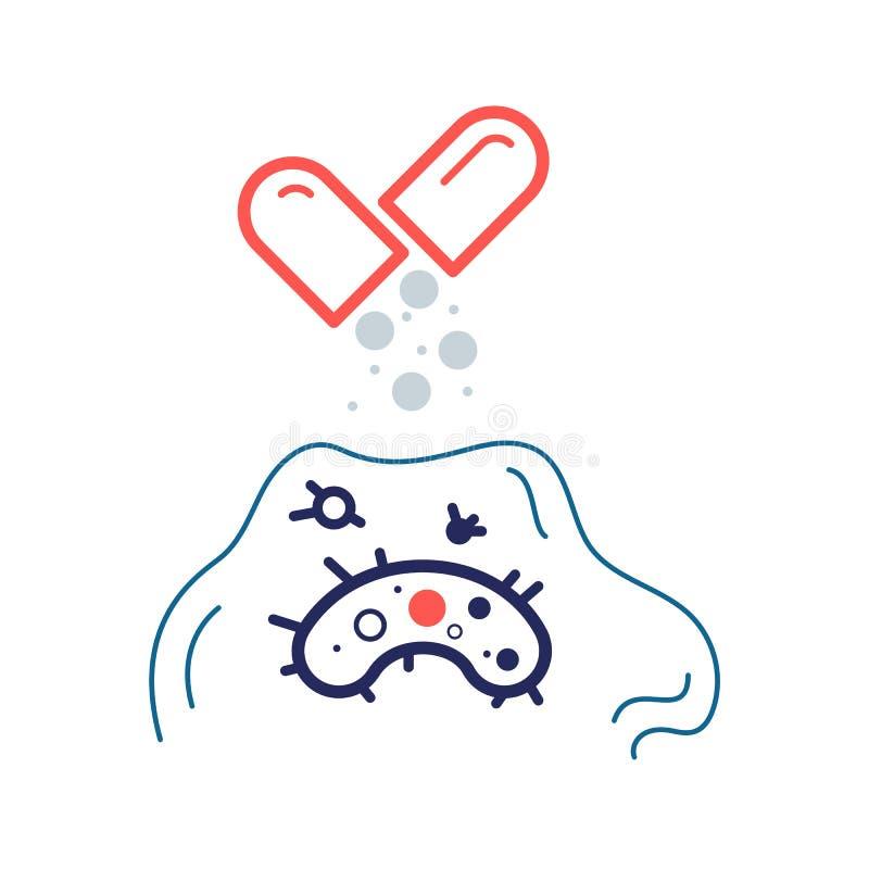 Batterio resistente all'icona piana di vettore di colore antibiotico illustrazione vettoriale