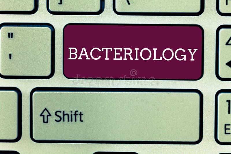 Batteriologia del testo di scrittura di parola Concetto di affari per il ramo di microbiologia che si occupa dei batteri e dei lo fotografia stock libera da diritti