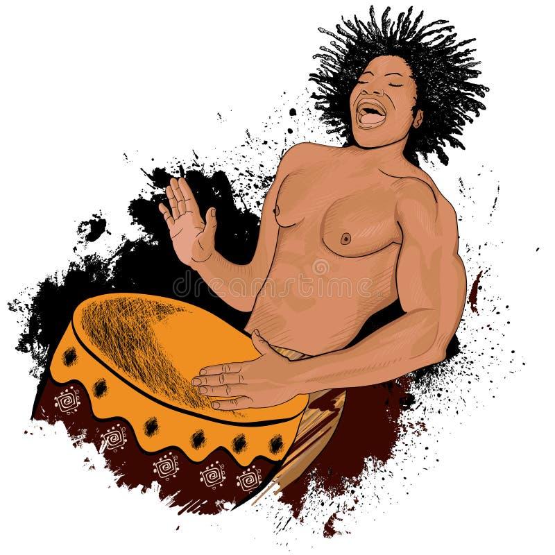 Batterista africano royalty illustrazione gratis