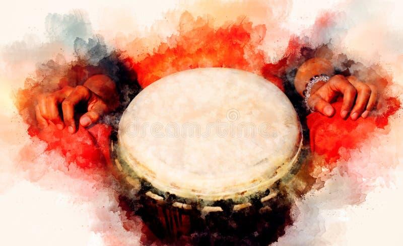 Batterista di signora con il suoi tamburo del djembe e fondo morbidamente vago dell'acquerello illustrazione di stock