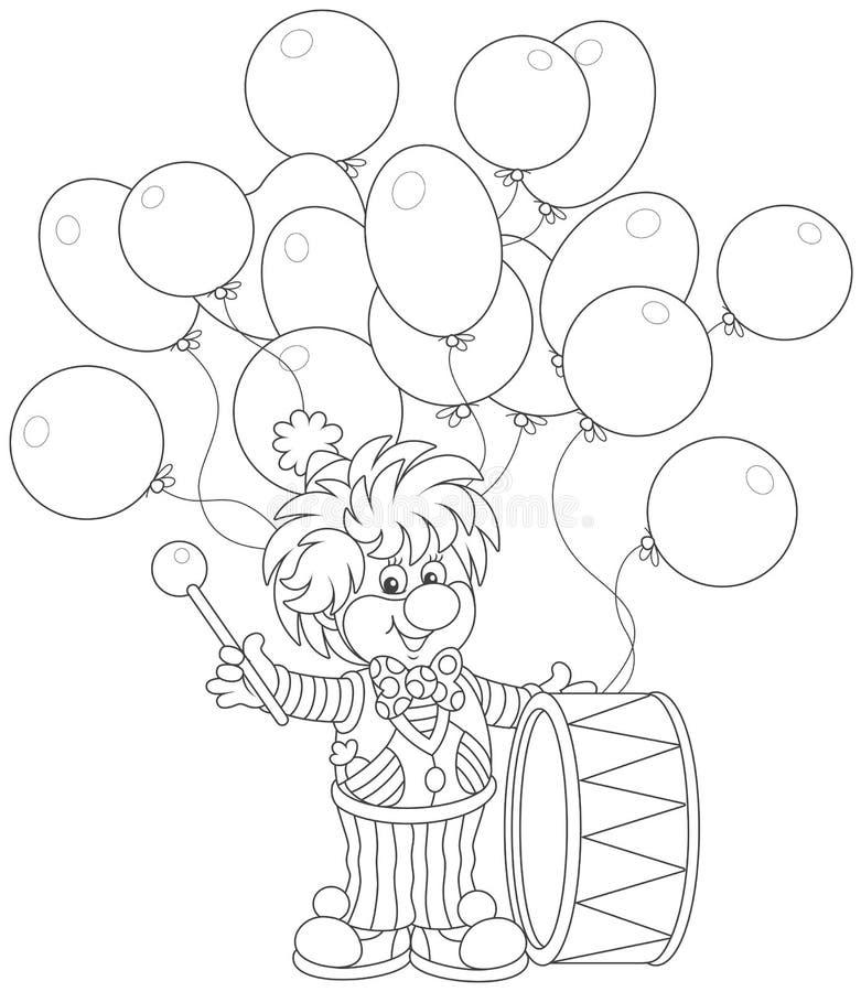 Batterista divertente del pagliaccio royalty illustrazione gratis