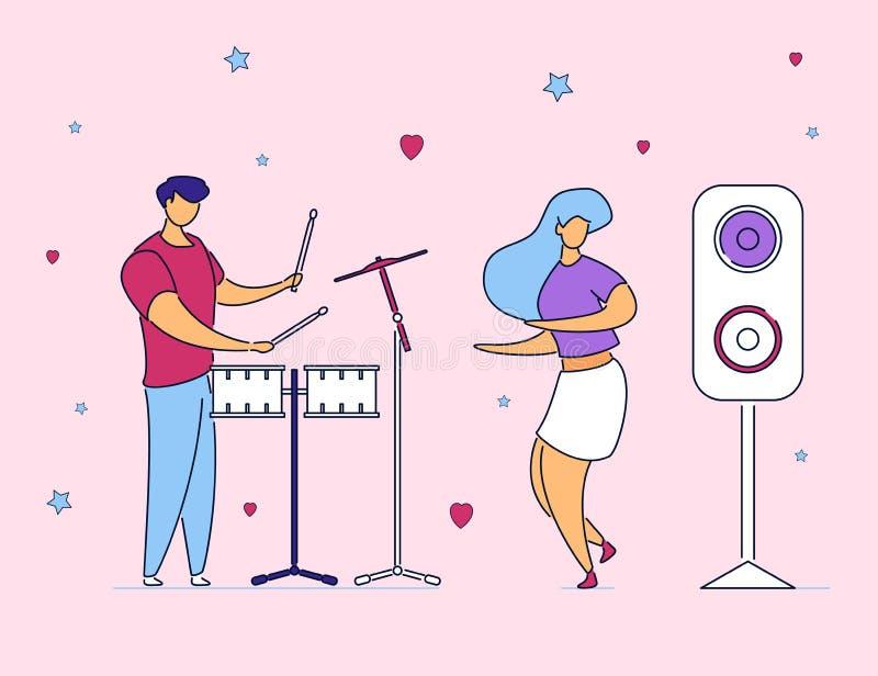 Batterista maschio dei personaggi dei cartoni animati piani moderni e ragazza ballante, stile disegnato a mano Uomo del musicista illustrazione di stock
