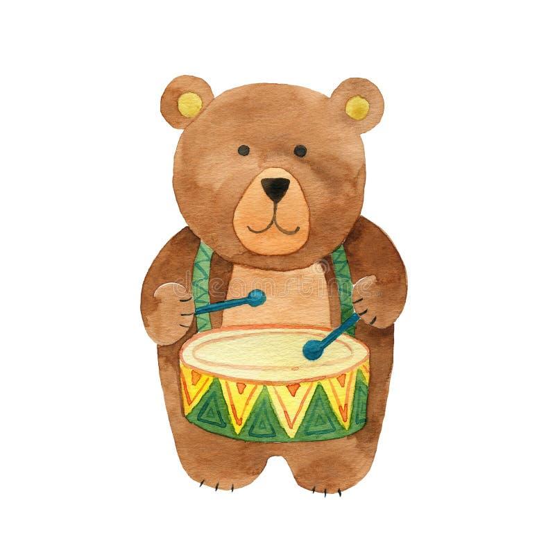Batterista sveglio dell'orso della mano illustrazione di stock