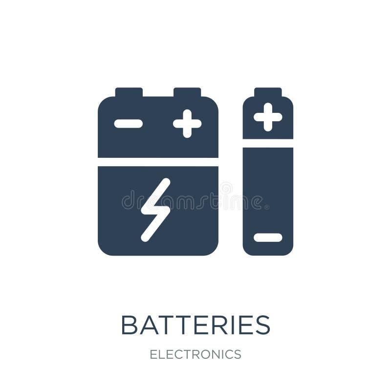 batterisymbol i moderiktig designstil batterisymbol som isoleras på vit bakgrund enkel och modern lägenhet för batterivektorsymbo stock illustrationer