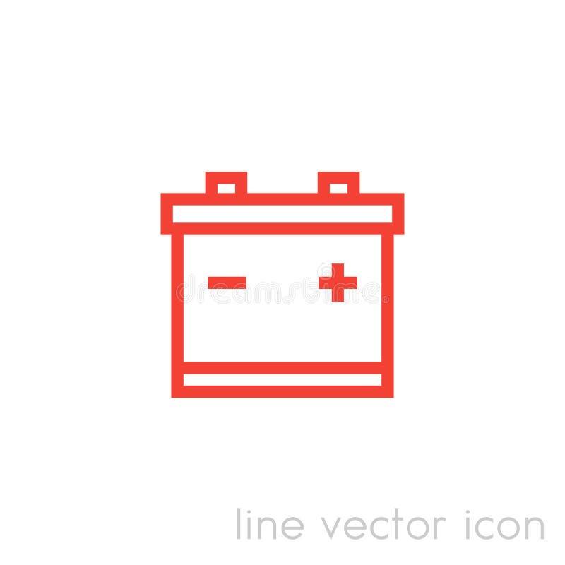 Batterisymbol, linjär pictogram för vektor stock illustrationer