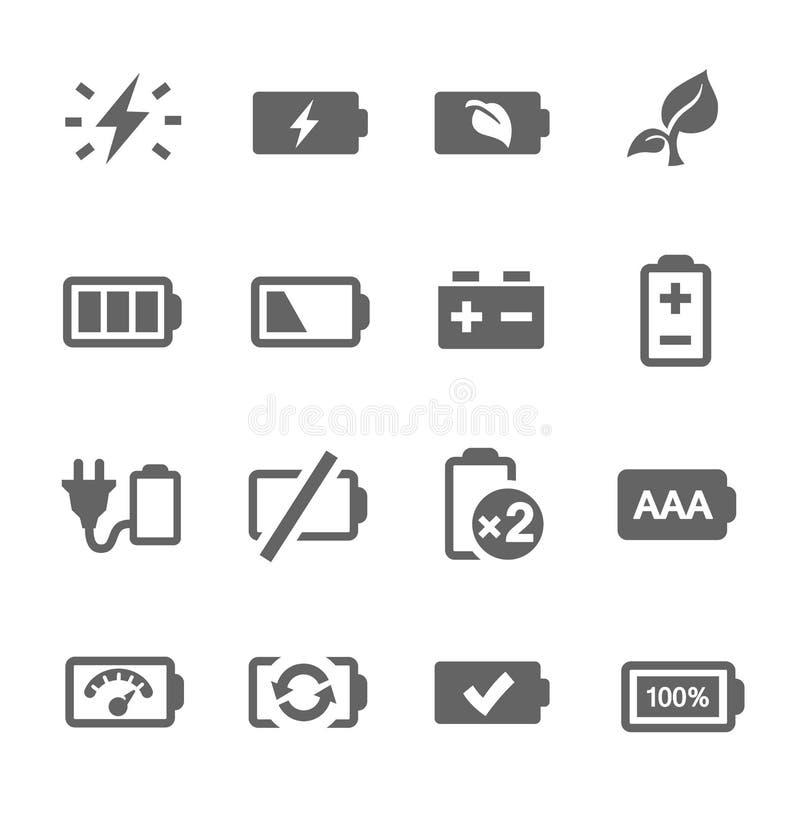 Batterisymboler stock illustrationer