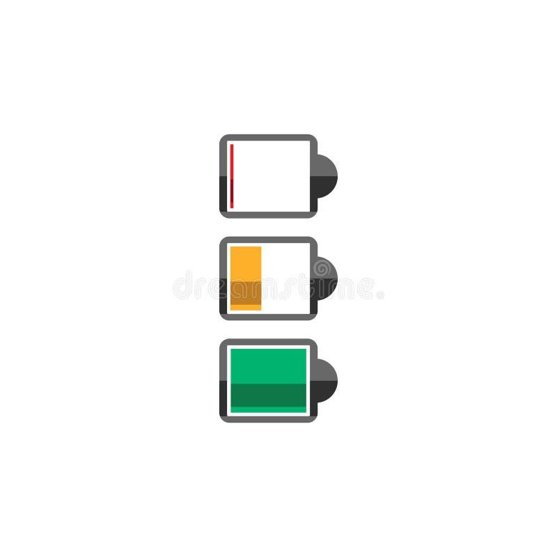 Batterisymboler plana symboler för vektor som isoleras på vit royaltyfri illustrationer