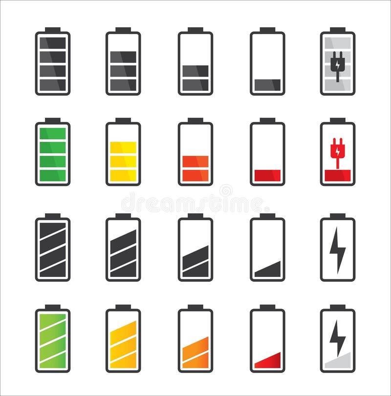Batterisymbolsuppsättning stock illustrationer