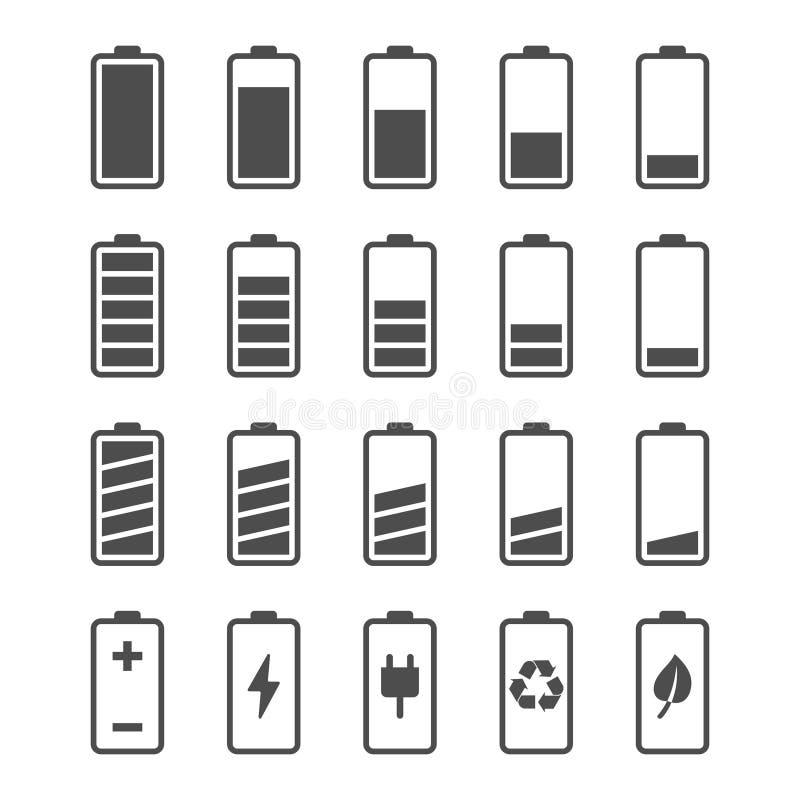 Batterisymbolsuppsättning med jämna indikatorer för laddning royaltyfri illustrationer