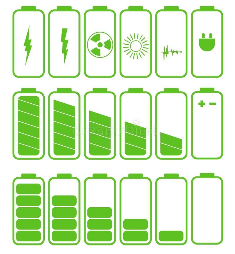 Batterisymbolsuppsättning Set av batteriladdningsnivån stock illustrationer