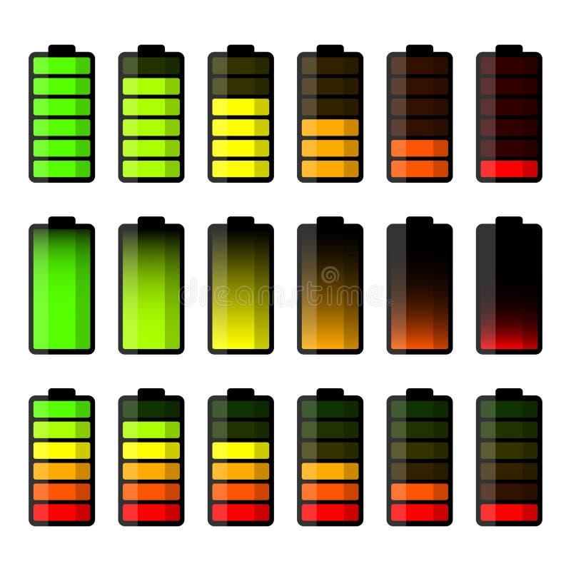 Batterisymbolsuppsättning Set av level indikatorer för batteriladdning stock illustrationer