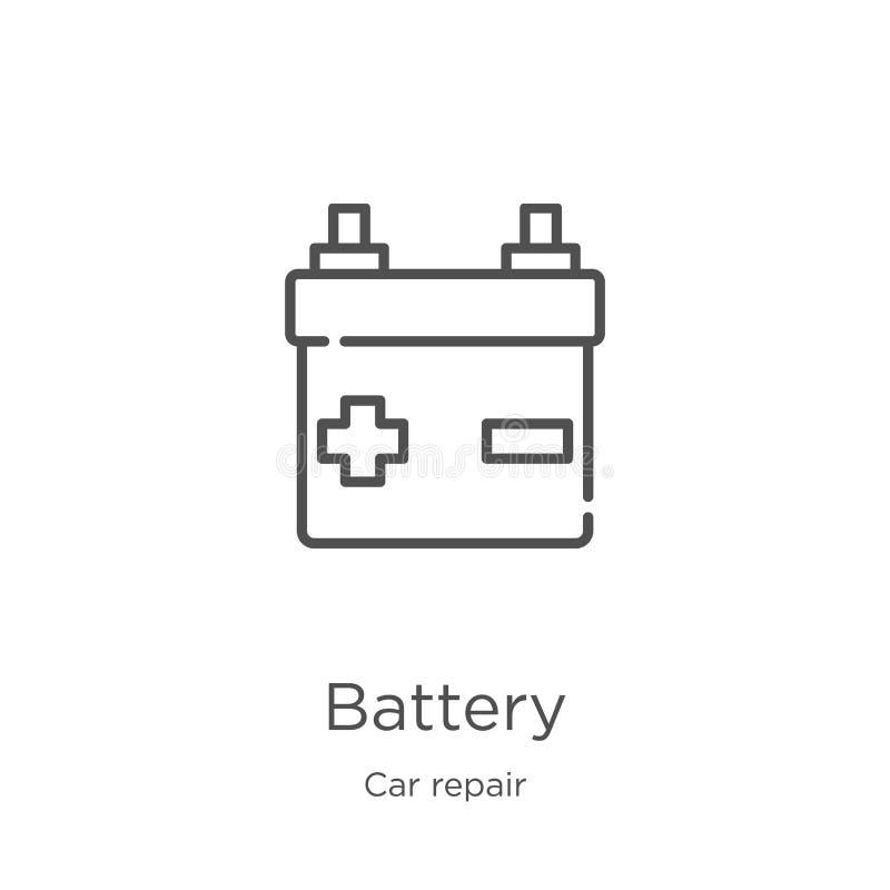 batterisymbolsvektor från bilreparationssamling Tunn linje illustration f?r vektor f?r batteri?versiktssymbol Översikt tunn linje stock illustrationer