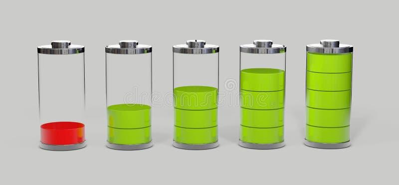 Batteriuppladdning Jämna indikatorer för batteriladdning som isoleras på grå färger, illustration 3d royaltyfri illustrationer