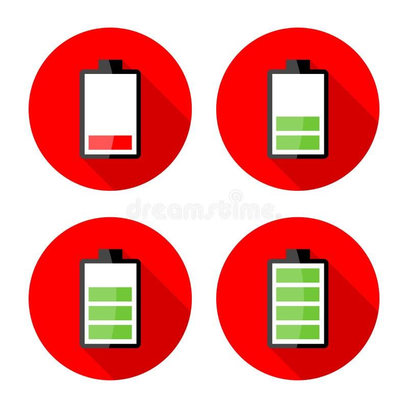 Batteriuppladdningssymboler - elektricitet undertecknar symboler royaltyfri illustrationer