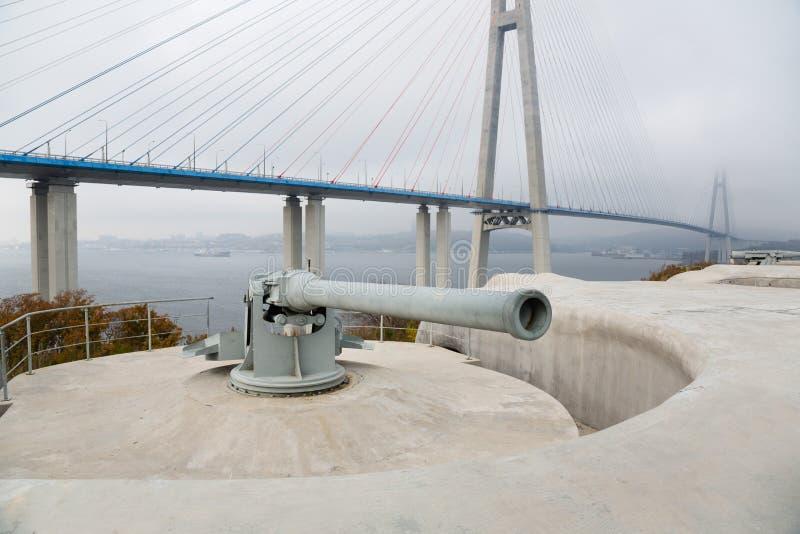 BatteriVladivostok för vapen kust- fästning royaltyfria foton