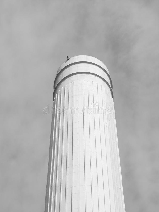 Battersea Power Station chimney in London, black and white royalty free stock photography