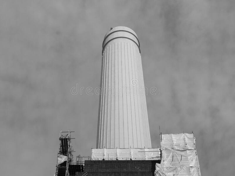 Battersea Power Station chimney in London, black and white stock photos