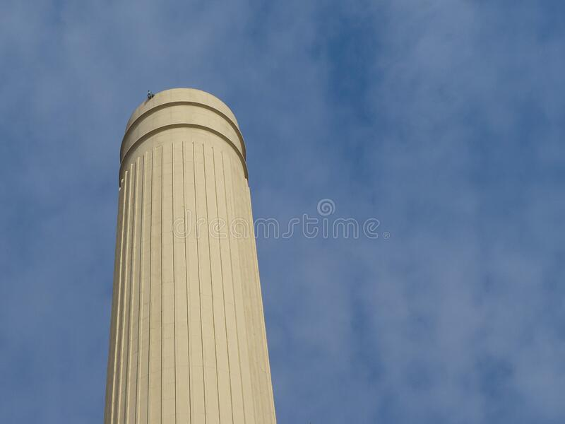 Battersea Power Station chimney in London stock image