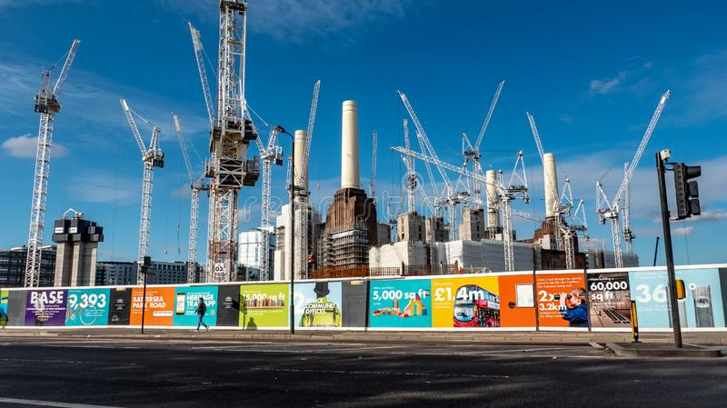 Battersea Power Station redevelopment, London. LONDON, UK - 31 OCTOBER 2018: A view of the extensive redevelopment work being carried out to the iconic Battersea stock photo