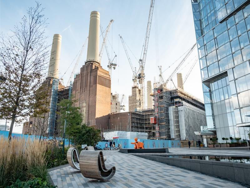 Battersea Power Station redevelopment, London. LONDON, UK - 31 OCTOBER 2018: A view of the extensive redevelopment work being carried out to the iconic Battersea royalty free stock photo