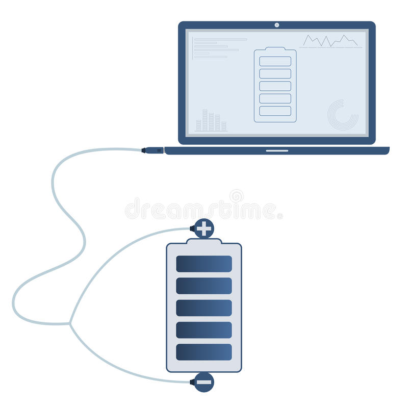 Battery automation using laptop. Battery connected to a laptop through a usb cable. Outline of the bus and graphs being shown on the computer monitor. Flat vector illustration