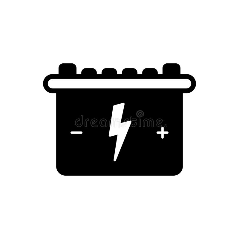 Black solid icon for Battery, energy and accumulator. Black solid icon for Battery, rechargeable, miscellaneous,  energy and accumulator vector illustration