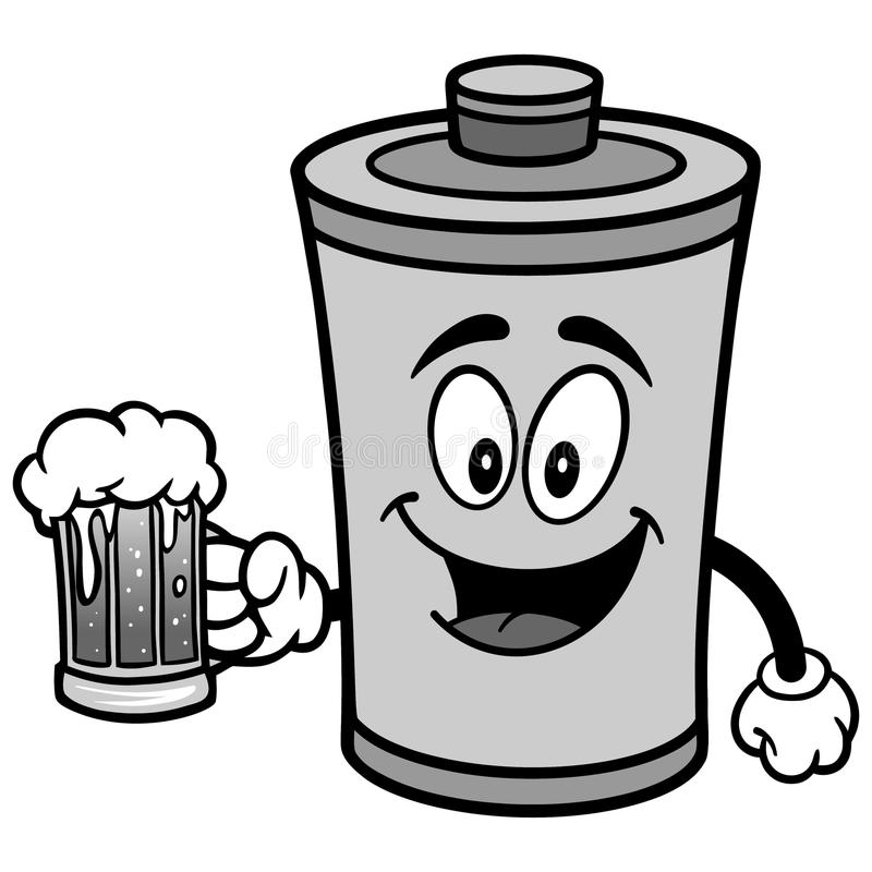 Battery with Beer Illustration royalty free illustration