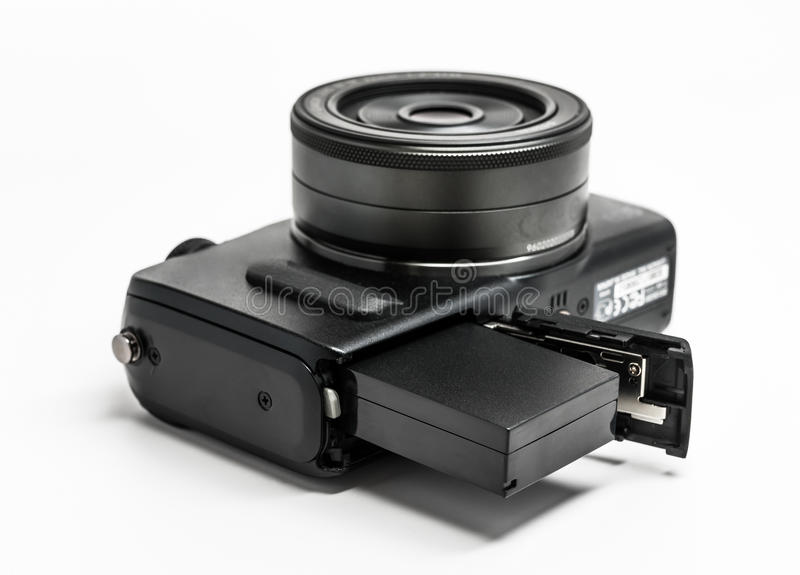 Battery in Camera stock photo