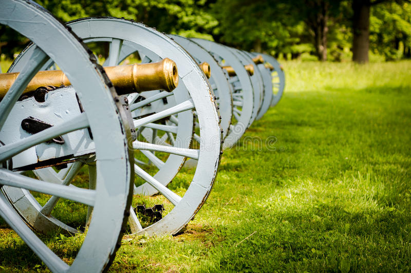 Battery of cannons ready to defend Valley Forge. A battery of cannons sites ready to defend Valley forge during the revolutionary war royalty free stock photo
